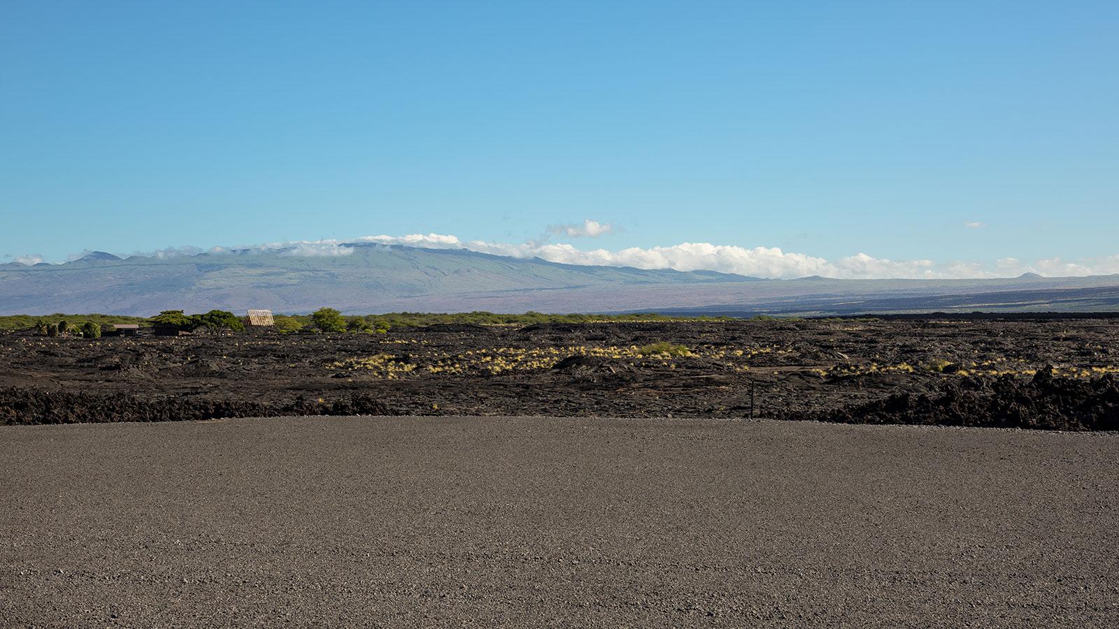 Lava fields on the rugged coastline of big island Hawaii
